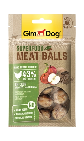 GIMDOG SUPERFOOD MEAT BALLS KIP / APPEL / QUINOA 70 GR
