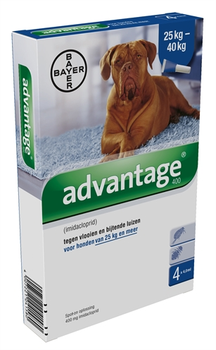 BAYER ADVANTAGE HOND 4 PIPETTEN 400 25+ KG 4 PIP