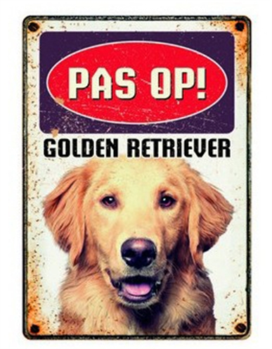 PLENTY GIFTS WAAKBORD BLIK GOLDEN RETRIEVER 15X21 CM